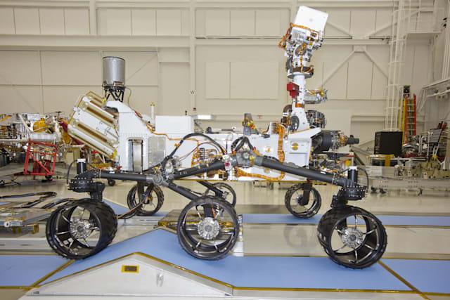 June 3, 2011 - NASA Mars Science Laboratory rover, Curiosity, during mobility testing inside the Spacecraft Assembly Facility.