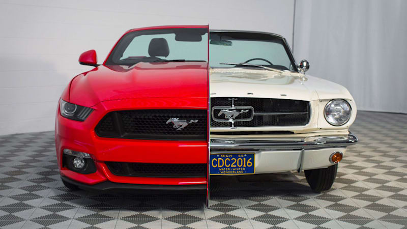 Split Ford Mustang display highlights 50 years of pony-car style