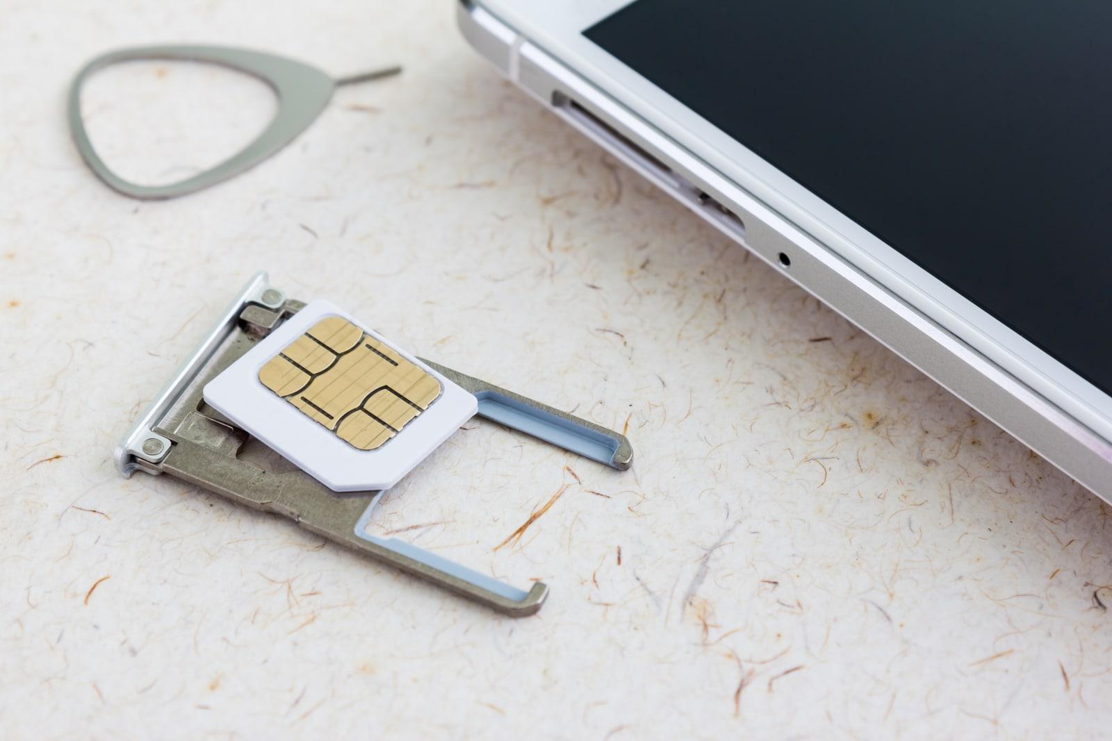 sim card with smartphone