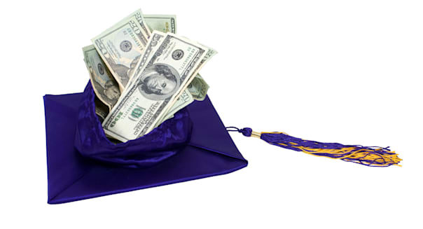 Graduation mortar board with tassel filled with money