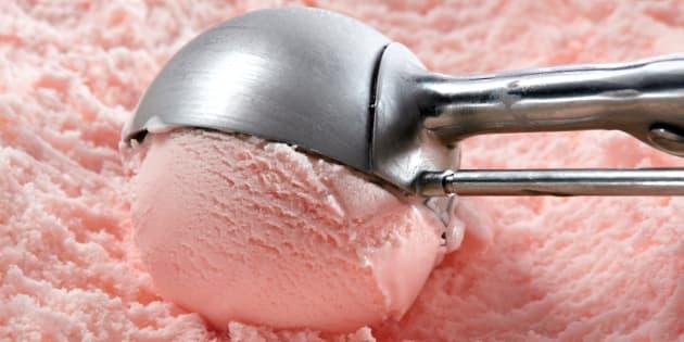 strawberry ice cream scooped...