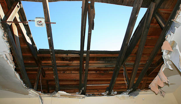Hole in the roof of the barracks