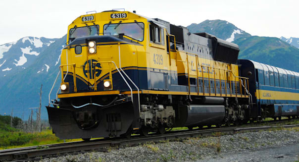 Alaska Railroad between Whittier and Anchorage Alaska AK U S United States engine Chugach Mountains Seward Highway