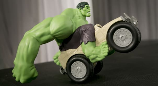 In this Sept. 29, 2015, photo, the Marvel Avengers Remote Control Hulk Smash XPV from Jakks Pacific is displayed at the TTPM Holiday Showcase in New York. The U.S. toy industry is expected to have its strongest year in over a decade, with anything robotic expected to help drive holiday sales. The growth is being fueled by the increasing popularity of toys based on Hollywood blockbuster films and better technology that allows toys to do things like talk back to children. (AP Photo/Mark Lennihan)