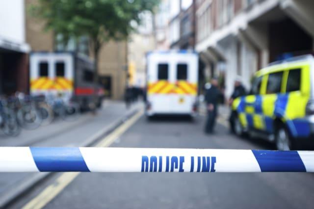Safety police line tape on crime scene