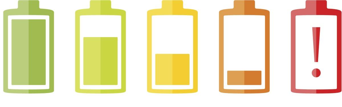 Battery icons set on white background, flat design, vector eps10 illustration