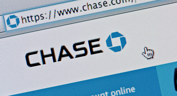 Close up of the Chase logo as seen on its website. (Editorial use only: ­print, TV, e-book and editorial website).