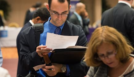 Inside A Job Fair As Jobless Claims in U.S. Fell to Five-Year Low Over Past Month