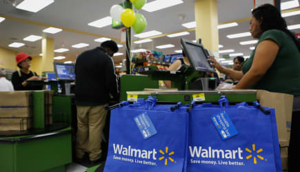 Views Of Shoppers And Products During A Wal-Mart Store Grand Opening