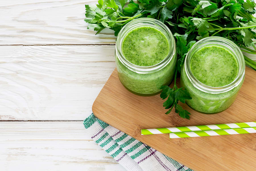 Healthy green smoothie with parsley
