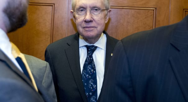 Budget Battle (Senate Majority Leader Harry Reid of Nevada takes the elevator after a rare Senate session on Capitol Hill in  Wa
