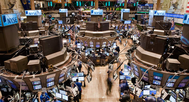 Looking downwards at the trading floor of the New York Stock Exchange on Wall Street.