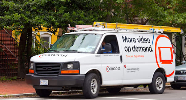 Cable installation truck in Washington DC