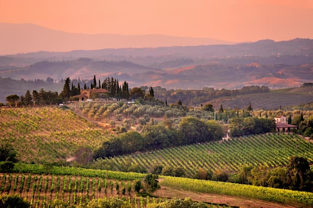 Tuscan landscape and hills at sunset, Tuscany, Italy
