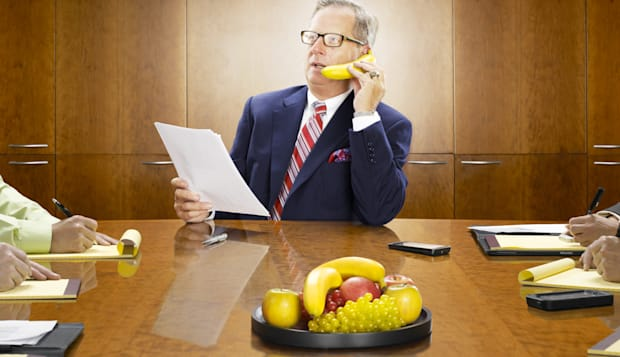 Business leader talking on a banana