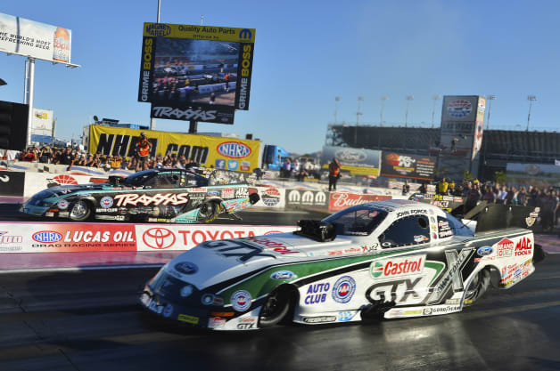 John Force wins his 16th NHRA Funny Car Championship in a race against his daughter, Courtney Force.