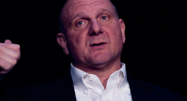 Steve Ballmer, Microsoft Chief Executive Officer, during his speech at the 2009 HYSTA conference in Santa Clara, California.
