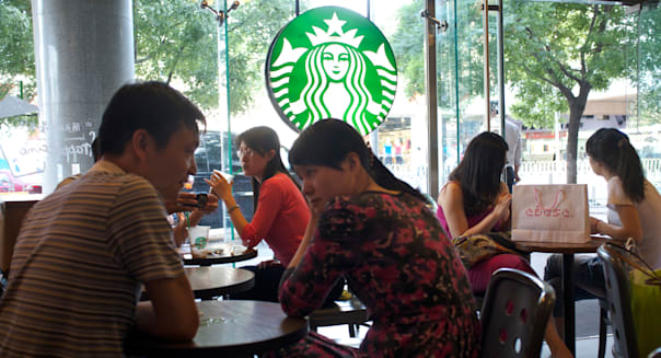 A Starbucks coffee shop in downtown Beijing, China. 25-May-2012