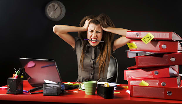 businesswoman fed up with working