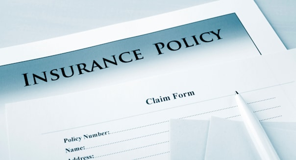 Insurance policy and claim form, focus on words