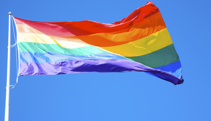 Rainbow flag at Harvey Milk Plaza, San Francisco, California