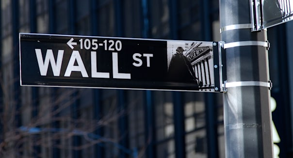 Wall street sign in New York city.