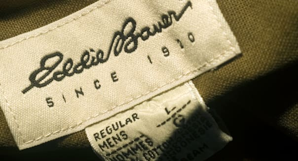A label on an Eddie Bauer shirt is seen in New York