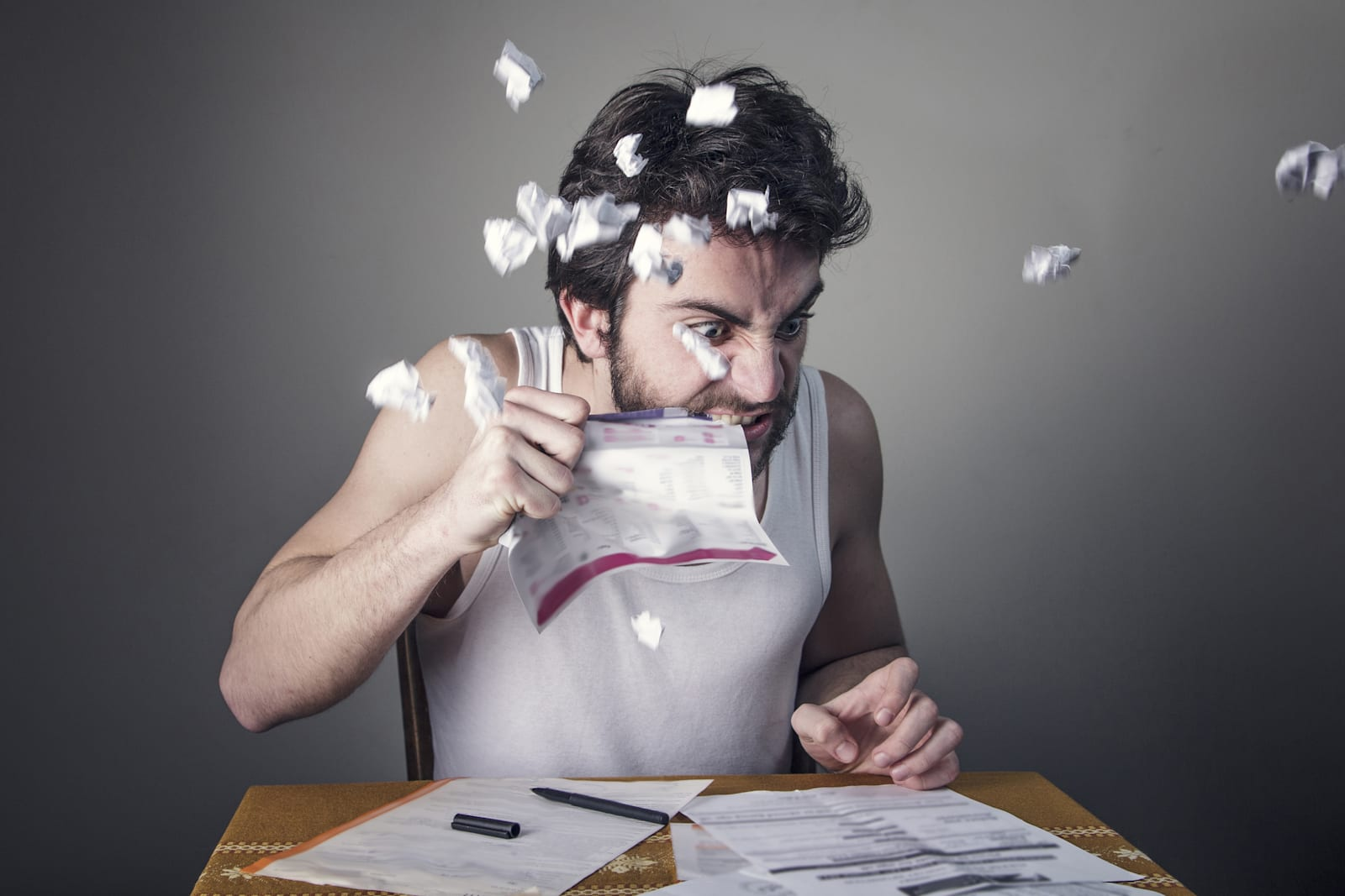 Man angry with his bills