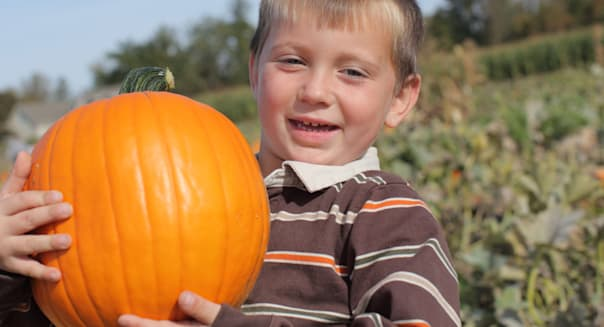 Young boy holding up pumpkin at pumpkin patch