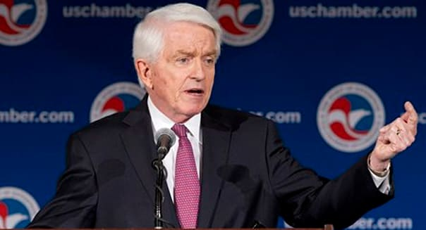 U.S. Chamber of Commerce President and CEO Thomas Donohue speaks at the State of American Business 2015 event in Washington, Wednesday, Jan. 14, 2015. (AP Photo/Jacquelyn Martin)