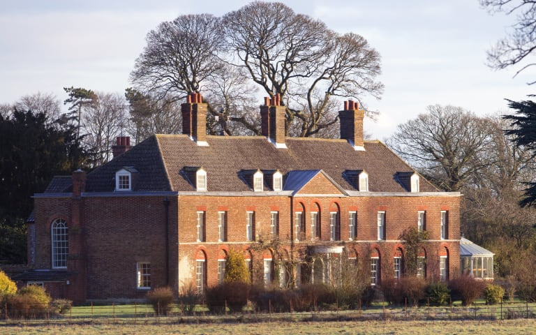 KING'S LYNN, UNITED KINGDOM - JANUARY 13: (EMBARGOED FOR PUBLICATION IN UK NEWSPAPERS UNTIL 48 HOURS AFTER CREATE DATE AND TIME) A general view of the front of Anmer Hall on the Sandringham Estate on January 13, 2013 in King's Lynn, England. It has been reported that Queen Elizabeth II is to give Anmer Hall to Prince William, Duke of Cambridge and Catherine, Duchess of Cambridge to be their country house. (Photo by Indigo/Getty Images)