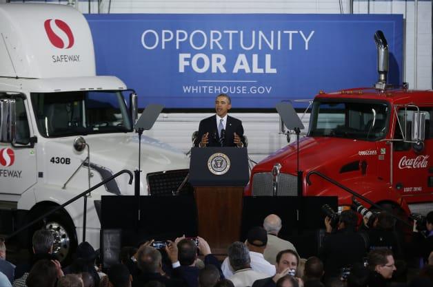 President Obama speaks on truck mpg standards