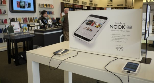 FILE - In this Tuesday, Feb. 26, 2013 file photo, nook tablets are on display at a Barnes and Noble bookstore in Los Angeles. Barnes & Noble is teaming up with Google to vastly increase the number of apps available on its Nook HD tablets. The bookstore chain says it will add Google?s Play app store to its Nook HD and HD+ products via a software update on Friday, May 3, 2013. (AP Photo/Jae C. Hong, File)