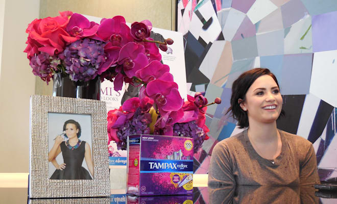demi lovato, tampax, always, the radiant collection