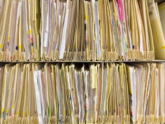 Paper files at a UK hospital