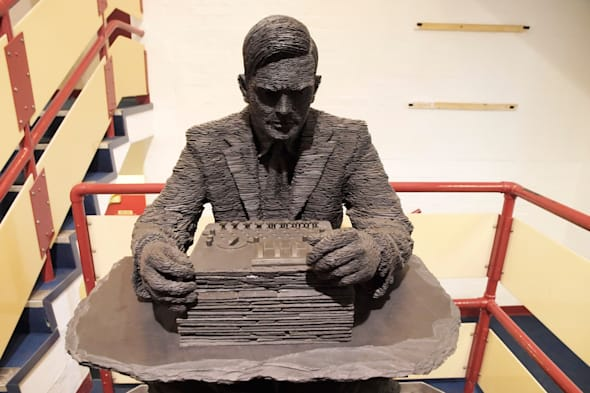 Slate sculpture of Alan Turing by Stephen Kettle Bletchley Park