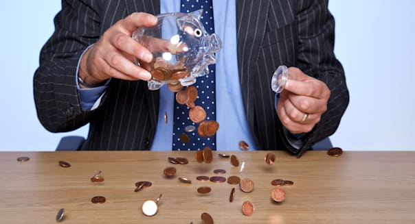 retirement savings jar coins money piggy bank clear
