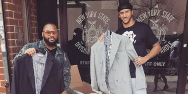 Colin Kaepernick gives away custom suits outside parole office
