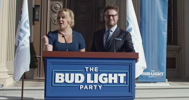 Amy Schumer & Seth Rogen Parody 'Independence Day' in Budweiser Super Bowl Ad