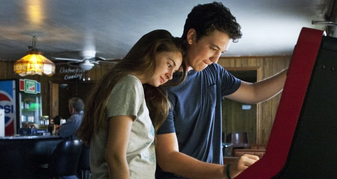 This publicity image released by A24 Films shows Shailene Woodley, left, and Miles Teller in a scene from
