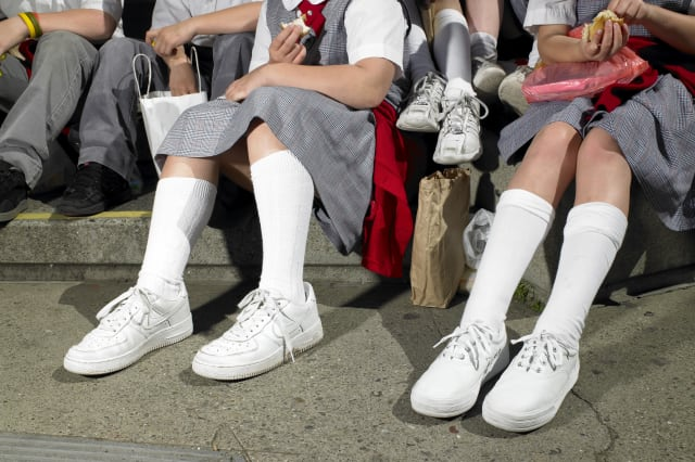 Schoolgirl made to work in cupboard over non-uniform shoes