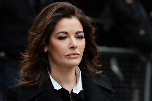 British television chef Nigella Lawson arrives at Isleworth Crown Court