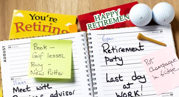 Retirement diary open.