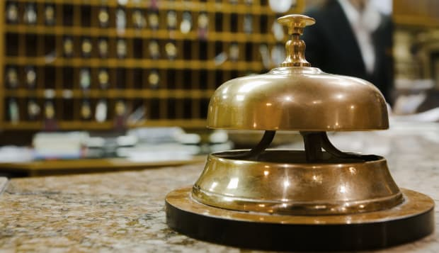 Service bell at hotel reception
