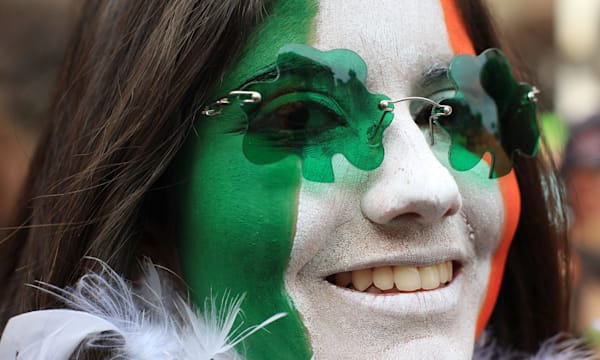 Parade goers are seen during the St.Patrick's day parade in Dublin, Ireland