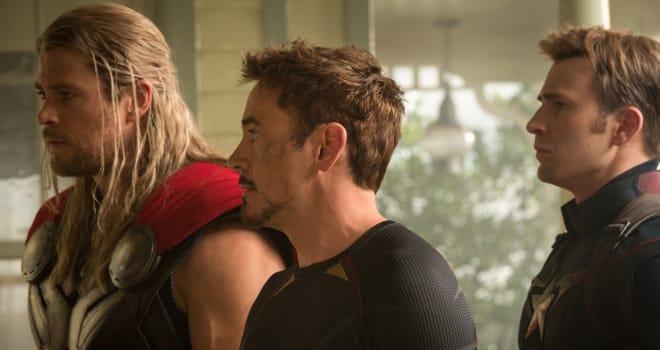 Marvel's Avengers: Age Of Ultron..L to R: Thor (Chris Hemsworth), Iron Man/Tony Stark (Robert Downey Jr.) and Captain America/Steve Rogers (Chris Evans) ..Ph: Jay Maidment..?Marvel 2015