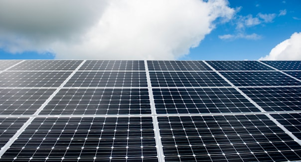 Green renewable energy: An array of solar panels converting sunshine into electricity, UK