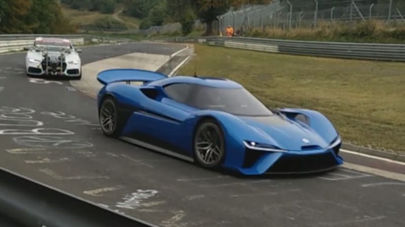 NextEV's massively powerful electric racer filming something on the 'Ring