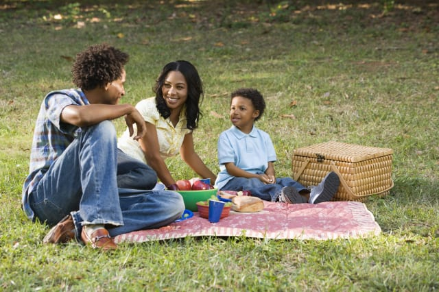 Smiling happy parents and son having picnic in park