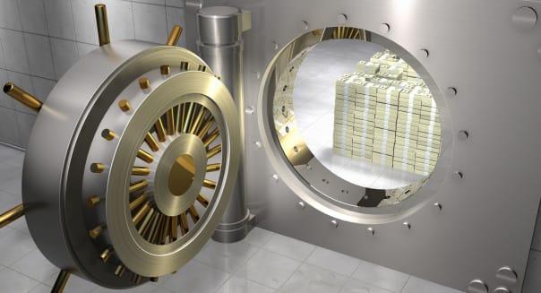 Stack of One Hundred Dollar Bills in Bank Vault